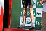 Race leader Chris Froome (GBR) Team Sky shows the signs of 2 crashes on the descent off Puerto del Torcal, on the podium at the end of Stage 12 of the 2017 La Vuelta, running 160.1km from Motril to Antequera Los D&oacute;lmenes, Spain. 31st August 2017.<br /> Picture: Unipublic/&copy;photogomezsport | Cyclefile<br /> <br /> <br /> All photos usage must carry mandatory copyright credit (&copy; Cyclefile | Unipublic/&copy;photogomezsport)