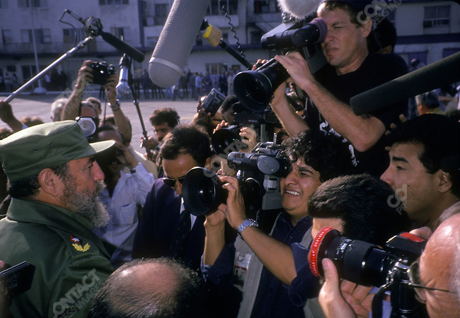 Fidel Castro, President of Cuba, during the visit of Mikhail Gorbachev, leader of the USSR, to Cuba. Havana, Cuba, April 1989<br />