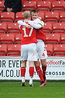 Fleetwood Town's Callum Connolly celebrates scoring the opening goal with team-mate Paddy Madden<br /> <br /> Photographer Kevin Barnes/CameraSport<br /> <br /> The EFL Sky Bet League One - Fleetwood Town v Peterborough United - Saturday 15th February 2020 - Highbury Stadium - Fleetwood<br /> <br /> World Copyright © 2020 CameraSport. All rights reserved. 43 Linden Ave. Countesthorpe. Leicester. England. LE8 5PG - Tel: +44 (0) 116 277 4147 - admin@camerasport.com - www.camerasport.com