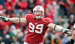 October 31, 2009: Wisconsin Badgers defensive lineman J.J. Watt (99) celebrates a blocked pass during an NCAA football game against the Purdue Boilermakers at Camp Randall Stadium on October 31, 2009 in Madison, Wisconsin. The Badgers won 37-0. (Photo by David Stluka)
