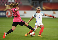 20170719 - UTRECHT , NETHERLANDS : English Jordan Nobbs (R) and Scottish Fiona Brown (R) pictured during the female soccer game between England and Scotland  , the frist game in group D at the Women's Euro 2017 , European Championship in The Netherlands 2017 , Wednesday 19 th June 2017 at Stadion De Galgenwaard  in Utrecht , The Netherlands PHOTO SPORTPIX.BE | DIRK VUYLSTEKE
