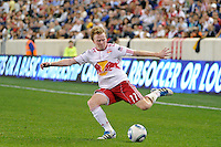 Dax McCarty (11) of the New York Red Bulls. The New York Red Bulls defeated the Portland Timbers 2-0 during a Major League Soccer (MLS) match at Red Bull Arena in Harrison, NJ, on September 24, 2011.