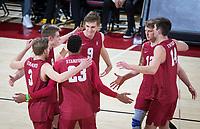 STANFORD, CA - March 14, 2019: Paul Bischoff, Leo Henken, Jaylen Jasper, Stephen Moye, Jordan Ewert, Kyler Presho at Maples Pavilion. The #8 Stanford Cardinal fell to the #6 Pepperdine Waves 3-0.