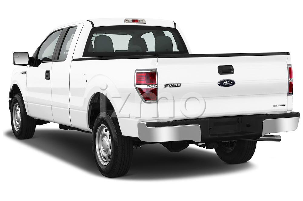 Rear three quarter view of a 2013 Ford F150 XL Super Cab