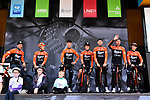 Roompot-Charles team introduced on stage before the start of Stage 1 of the 2019 Tour de Yorkshire, running 178.5km from Doncaster to Selby, Yorkshire, England. 2nd May 2019.<br /> Picture: ASO/SWPix | Cyclefile<br /> <br /> All photos usage must carry mandatory copyright credit (&copy; Cyclefile | ASO/SWPix)