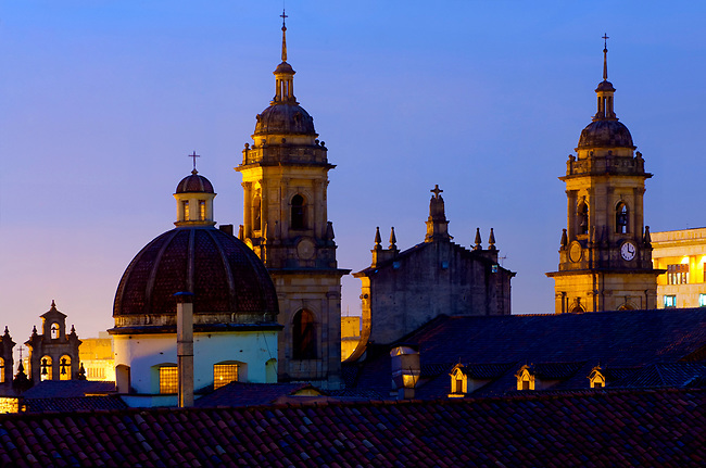 Colombia, Bogota, Towers of the Catedral Primada, Dome and Belfry of the Capilla del Sagrario, Plaza de Bolivar, Dusk