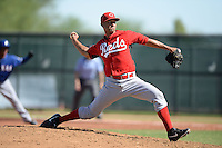 Cincinnati Reds pitcher Tyler Parmenter (46) during an Instructional League game against the Texas Rangers on October 3, 2014 at Surprise Stadium Training Complex in Surprise, Arizona.  (Mike Janes/Four Seam Images)
