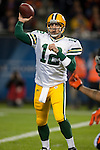 Green Bay Packers quarterback Aaron Rodgers (12) throws a pass during an NFL football game against the Chicago Bears in Chicago, Illinois on September 27, 2010. The Bears won the game 20-17. (AP Photo/David Stluka)