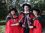 20/1/2015   (with compliments)  Attending the University of limerick conferrings on Monday morning were these PHD graduates Elizabeth Finnegan, Banagher, Co. Offaly, Michael Vaughan Bezuidenhout, Johanasburg, South Africa and Claudia Coughlan, Cratloe, Co. Clare.<br /> Picture Liam Burke/Press 22