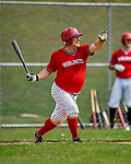 15 September 2019: Burlington Cardinal first baseman Tom Simon at bat against the Waterbury Warthogs at Burlington High School in Burlington, Vermont. The Warthogs edged out the Cardinals 2-1 in post season play. Mandatory Credit: Ed Wolfstein Photo *** RAW (NEF) Image File Available ***