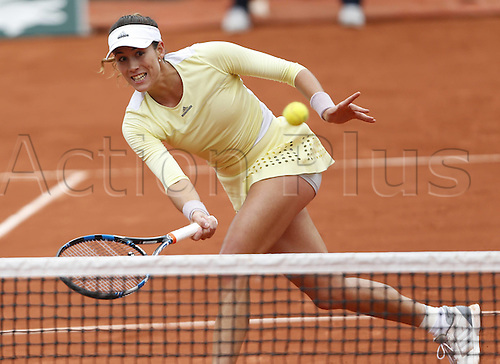 01.06.2016. Roland Garros, Paris, France. Garbine Muguruza of Spain hits a return to Shelby Rogers of the United States during womens singles quarterfinal at the Roland Garr2016 French Tennis Open in Paris, France, June 1, 2016. Muguruza qualified for the semifinal after beating Rogers 2-0.