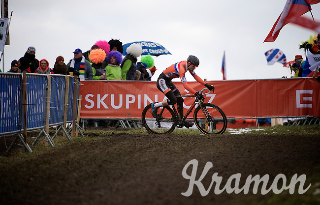 Mathieu Van der Poel (NLD) leading the race<br /> <br /> Elite Men's race<br /> <br /> 2015 UCI World Championships Cyclocross <br /> Tabor, Czech Republic