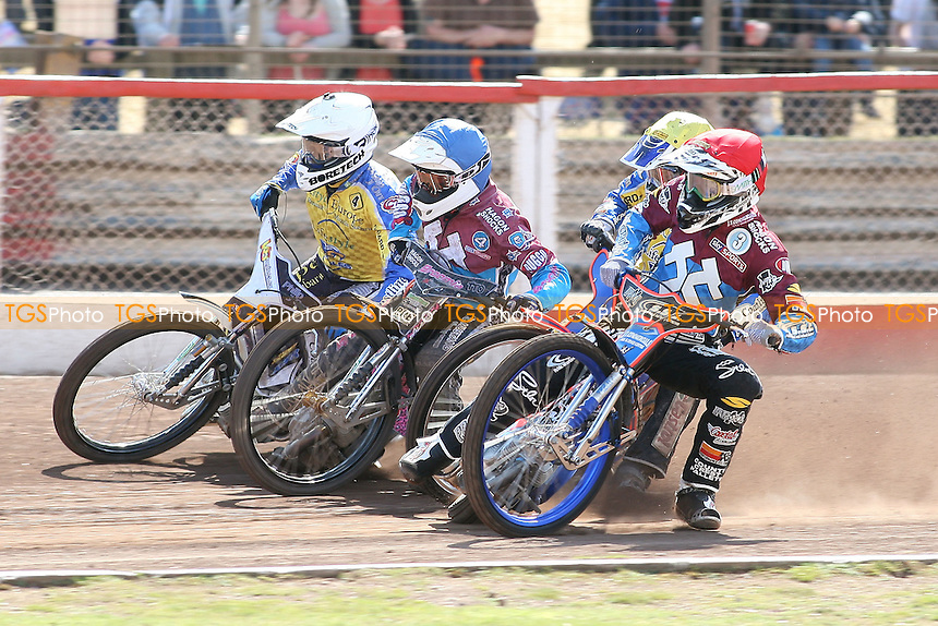Heat 5: Davey Watt (red), Cameron Woodward (white), Rob Mear (blue) and Lukas Dryml - Lakeside Hammers vs Eastbourne Eagles - Sky Sports Elite League Speedway at Arena Essex Raceway, Purfleet - 06/04/12 - MANDATORY CREDIT: Gavin Ellis/TGSPHOTO - Self billing applies where appropriate - 0845 094 6026 - contact@tgsphoto.co.uk - NO UNPAID USE.