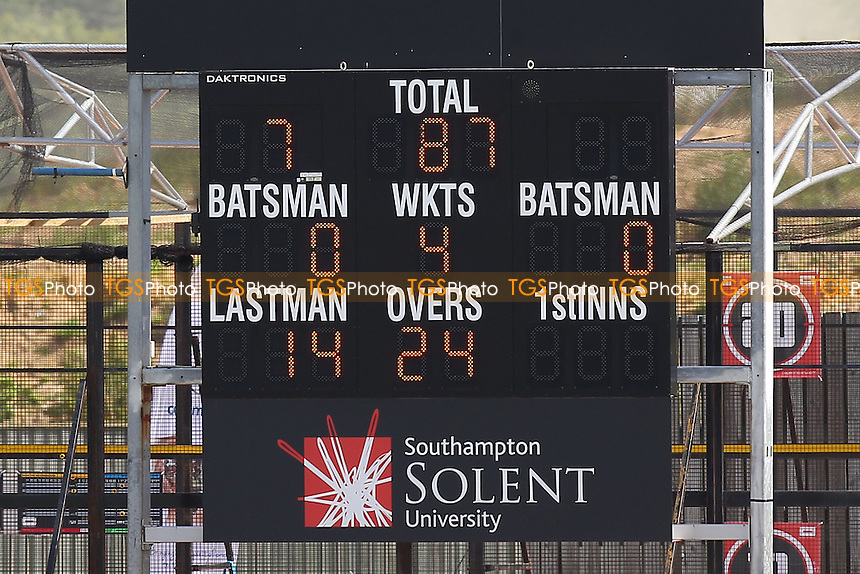 The scoreboard shows that Essex are 87 for 4 wickets, chasing 606 runs to win - Hampshire CCC vs Essex CCC - LV County Championship Division Two Cricket at the Ageas Bowl, West End, Southampton - 17/06/14 - MANDATORY CREDIT: Gavin Ellis/TGSPHOTO - Self billing applies where appropriate - 0845 094 6026 - contact@tgsphoto.co.uk - NO UNPAID USE
