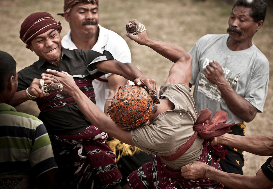 Traditional boxing, Soa Village, central Flores, Indonesia.