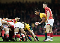 Australia's Will Genia puts in to the scrum<br /> <br /> Photographer Simon King/CameraSport<br /> <br /> International Rugby Union - 2017 Under Armour Series Autumn Internationals - Wales v Australia - Saturday 11th November 2017 - Principality Stadium - Cardiff<br /> <br /> World Copyright &copy; 2017 CameraSport. All rights reserved. 43 Linden Ave. Countesthorpe. Leicester. England. LE8 5PG - Tel: +44 (0) 116 277 4147 - admin@camerasport.com - www.camerasport.com