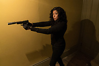 Proud Mary (2018) <br /> Mary (Taraji P. Henson) stalk her prey in the halls of the Kozlov mansion<br /> *Filmstill - Editorial Use Only*<br /> CAP/KFS<br /> Image supplied by Capital Pictures