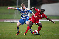 Ellis Lentell of Ilford and Christian Owusu of Walthamstow during Ilford vs Walthamstow, Essex Senior League Football at Cricklefields Stadium on 6th October 2018