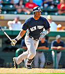 11 March 2009: New York Yankees' infielder Juan Miranda in action during a Spring Training game against the Detroit Tigers at Joker Marchant Stadium in Lakeland, Florida. The Tigers defeated the Yankees 7-4 in the Grapefruit League matchup. Mandatory Photo Credit: Ed Wolfstein Photo