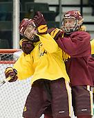 Mike Connolly (Duluth - 22), Chad Huttel (Duluth - 26) - The University of Minnesota-Duluth Bulldogs practiced on Friday morning, April 8, 2011, during the 2011 Frozen Four at the Xcel Energy Center in St. Paul, Minnesota.