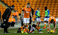 Blackpool's Dolly Menga appears in pain after a strong challenge <br /> <br /> Photographer Alex Dodd/CameraSport<br /> <br /> The EFL Sky Bet League One - Blackpool v Portsmouth - Saturday 11th November 2017 - Bloomfield Road - Blackpool<br /> <br /> World Copyright &copy; 2017 CameraSport. All rights reserved. 43 Linden Ave. Countesthorpe. Leicester. England. LE8 5PG - Tel: +44 (0) 116 277 4147 - admin@camerasport.com - www.camerasport.com