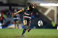 George Ford of Leicester Tigers kicks for the posts. European Rugby Champions Cup match, between Leicester Tigers and Munster Rugby on December 17, 2017 at Welford Road in Leicester, England. Photo by: Patrick Khachfe / JMP