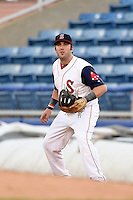 Salem Red Sox first baseman Matthew Gedman (44) holds a runner during a game against the Lynchburg Hillcats on April 25, 2014 at Lewisgale Field in Salem, Virginia.  Salem defeated Lynchburg 10-0.  (Mike Janes/Four Seam Images)