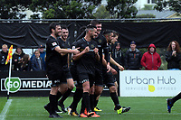 Team Wellington's Mario Barcia celebrates scoring the fourth goal during the Oceania Football Championship final (first leg) football match between Team Wellington and Lautoka FC at David Farrington Park in Wellington, New Zealand on Sunday, 13 May 2018. Photo: Dave Lintott / lintottphoto.co.nz