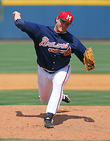 22 April 2007: Ryan Basner of the Mississippi Braves, the Atlanta Braves' Class AA affiliate of the Southern League, in a game against the Birmingham Barons at Trustmark Park in Pearl, Miss. Photo by:  Tom Priddy/Four Seam Images