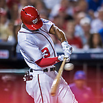 7 October 2017: Washington Nationals outfielder Michael Taylor in action during the second NLDS game against the Chicago Cubs at Nationals Park in Washington, DC. The Nationals defeated the Cubs 6-3 and even their best of five Postseason series at one game apiece. Mandatory Credit: Ed Wolfstein Photo *** RAW (NEF) Image File Available ***