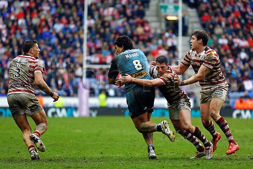03.04.2015.  Wigan, England.  Super League Rugby. Wigan Warriors versus St Helens. Mose Masoe of St Helens runs with the ball