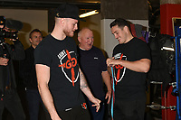 George Groves (L), Mick Delaney (Dale Youth) and Shane McGuigan during a Media Workout at Dale Youth ABC on 10th October 2017