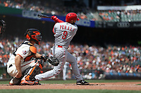 SAN FRANCISCO, CA - MAY 16:  Jose Peraza #9 of the Cincinnati Reds bats against the San Francisco Giants during the game at AT&T Park on Wednesday, May 16, 2018 in San Francisco, California. (Photo by Brad Mangin)
