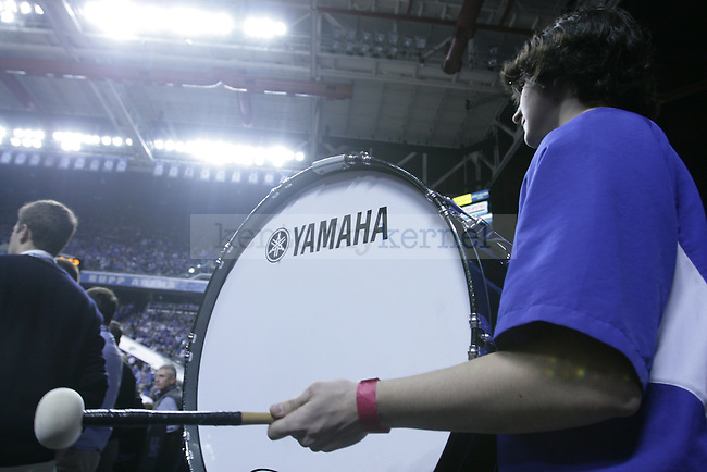 Biology Freshman Nick Rivera playing the bass drum at UK's game against florida at rupp on Mar. 7th.