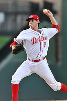 Pitcher Jake Drehoff (29) of the Greenville Drive delivers a pitch in a game against the Greensboro Grasshoppers on Wednesday, August 26, 2015, at Fluor Field at the West End in Greenville, South Carolina. Greenville won, 7-0. (Tom Priddy/Four Seam Images)