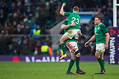 17th March 2018, Twickenham, London, England; NatWest Six Nations rugby, England versus Ireland; Jordan Larmour of Ireland  celebrates winning the Grand Slam and Six Nations Champsionship
