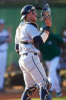 Georgetown Hoyas catcher Richie O'Reilly (11) after throwing down to second in between innings during a game against the Chicago State Cougars on March 3, 2017 at North Charlotte Regional Park in Port Charlotte, Florida.  Georgetown defeated Chicago State 11-0.  (Mike Janes/Four Seam Images)