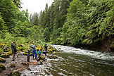 USA, Oregon, Santiam River, Brown Cannon, young boys learning how to fish on the Santiam River in the Willamete National Forest