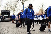 Beno Obano and the rest of the Bath Rugby team arrive at Twickenham. Gallagher Premiership match, The Clash, between Bath Rugby and Bristol Rugby on April 6, 2019 at Twickenham Stadium in London, England. Photo by: Patrick Khachfe / Onside Images