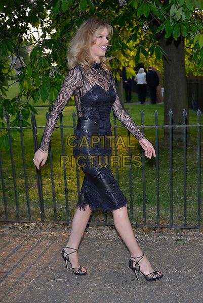 Eva Herzigova<br /> Serpentine Gallery Summer Party, Kensington Park Gardens, London, England.<br /> 26th June 2013<br /> full length dress black lace side profile walking <br /> CAP/PL<br /> &copy;Phil Loftus/Capital Pictures