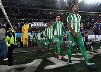 BOGOTA - COLOMBIA - 18 – 02 - 2018: Los jugadores de Atletico Nacional, entran al campo antes de partido de la fecha 4 entre Millonarios y Atletico Nacional, por la Liga Aguila I 2018, jugado en el estadio Nemesio Camacho El Campin de la ciudad de Bogota. / The players of Atletico Nacional, enter the field before the match of the 4th date between Millonarios and Atletico Nacional, for the Liga Aguila I 2018 played at the Nemesio Camacho El Campin Stadium in Bogota city, Photo: VizzorImage / Luis Ramirez / Staff.