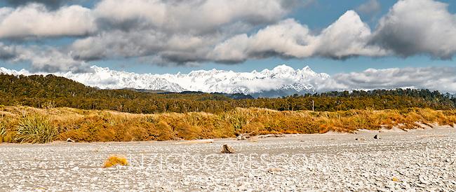 Three Mile Beach near Okarito. Southern Alps in view, Westland National Park, West Coast, New Zealand