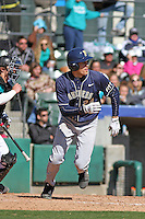 University of Pittsburgh outfielder Boo Vazquez #24 at bat during a game against the Coastal Carolina University Chanticleers at Ticketreturn.com Field at Pelicans Ballpark on February 16, 2014 in Myrtle Beach, South Carolina. Pittsburgh defeated Coastal Carolina by the score of 10-6. (Robert Gurganus/Four Seam Images)