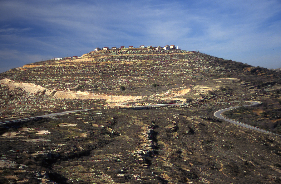 Israeli settlement on hilltop in West Bank near town of Nablus in 1996.