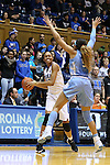 24 January 2016: Duke's Azura Stevens (left) is defended by North Carolina's Stephanie Watts (5). The Duke University Blue Devils hosted the University of North Carolina Tar Heels at Cameron Indoor Stadium in Durham, North Carolina in a 2015-16 NCAA Division I Women's Basketball game. Duke won the game 71-55.