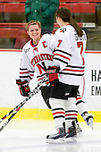 Annie Hogan (NU - 3), Brittany Esposito (NU - 7) - The Northeastern University Huskies defeated the Boston University Terriers in a shootout after being tied at 4 following overtime in their Beanpot semi-final game on Tuesday, February 2, 2010 at the Bright Hockey Center in Cambridge, Massachusetts.