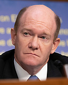United States Senator Chris Coons (Democrat of Delaware) listens to the controversy prior to Judge Brett Kavanaugh giving testimony before the United States Senate Judiciary Committee on his nomination as Associate Justice of the US Supreme Court to replace the retiring Justice Anthony Kennedy on Capitol Hill in Washington, DC on Tuesday, September 4, 2018.<br /> Credit: Ron Sachs / CNP<br /> (RESTRICTION: NO New York or New Jersey Newspapers or newspapers within a 75 mile radius of New York City)