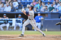 Rome Braves center fielder Drew Waters (11) swings at a pitch during a game against the Asheville Tourists at McCormick Field on June 7, 2018 in Asheville, North Carolina. The Braves defeated the Tourists 8-6. (Tony Farlow/Four Seam Images)