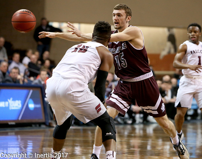 SIOUX FALLS, SD: MARCH 23: Brent Bach #15 from Bellarmine passes the ball around Vonte Montgomery #15 from Fairmont State during the Men's Division II Basketball Championship Tournament on March 23, 2017 at the Sanford Pentagon in Sioux Falls, SD. (Photo by Dave Eggen/Inertia)