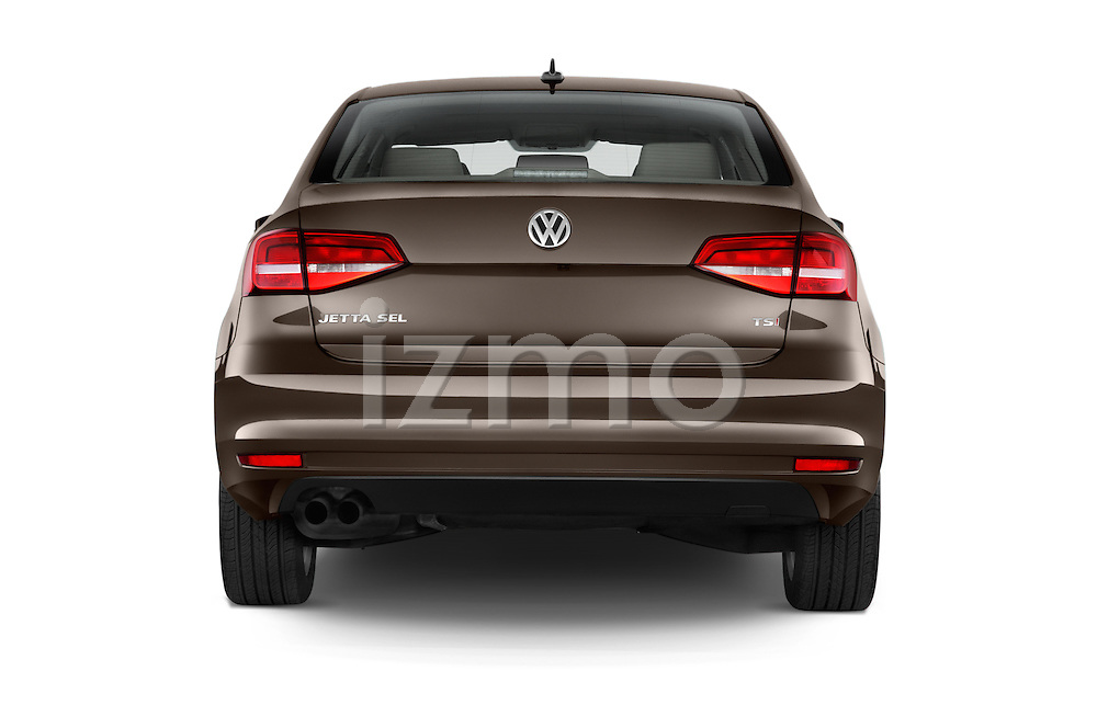 Straight rear view of a 2015 Volkswagen Jetta 2.5L SEL 4 Door Sedan Rear View  stock images